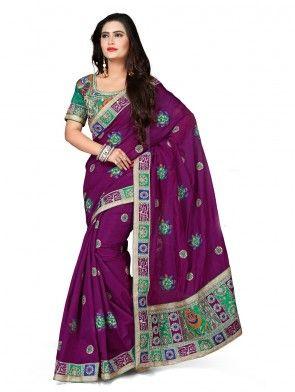 Purple Chanderi Silk Saree with Stone Work
