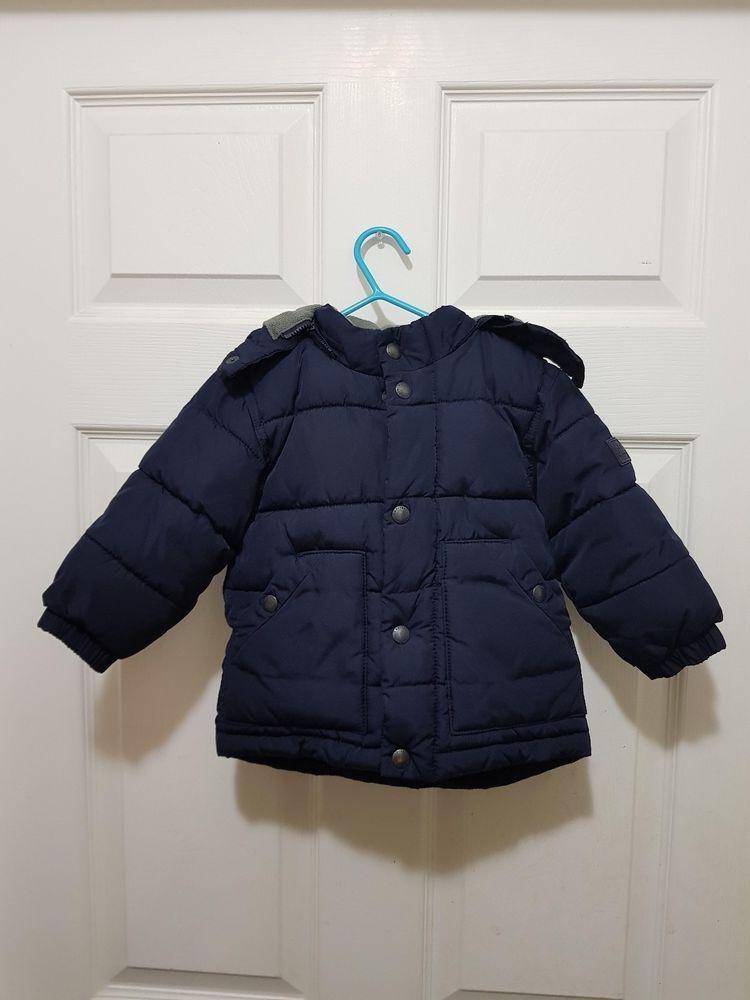 6bb4e71d4c22 Baby Gap Navy Blue Hooded Puffer Winter Boys Jacket Size 12-18 ...