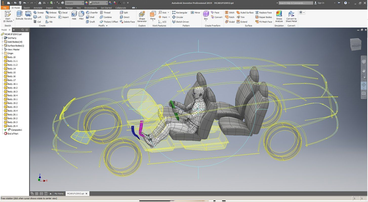 Autodesk #Inventor #ergonomic #car #template #model