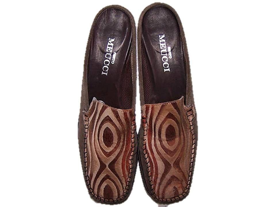 Sesto Meucci Shoes, Vintage 90s Shoes, Pony Hair Shoes, or Calf Hair Mules, Size 8 Mules, Womens Size 8 Shoes, OP Art Slides, Italian Shoes