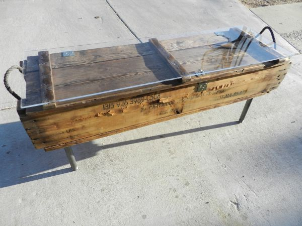 I can do this....ammo crate coffee table (but without the glass)