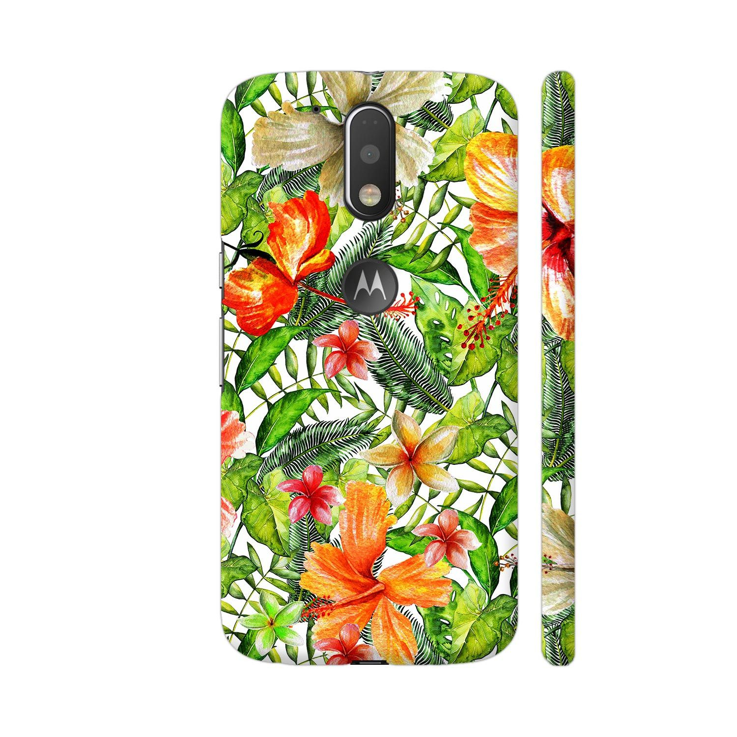 Tropical Hibiscus Flower Jungle Pattern Moto G4 / Moto G4 Plus Cover | Artist: UtART #junglepattern