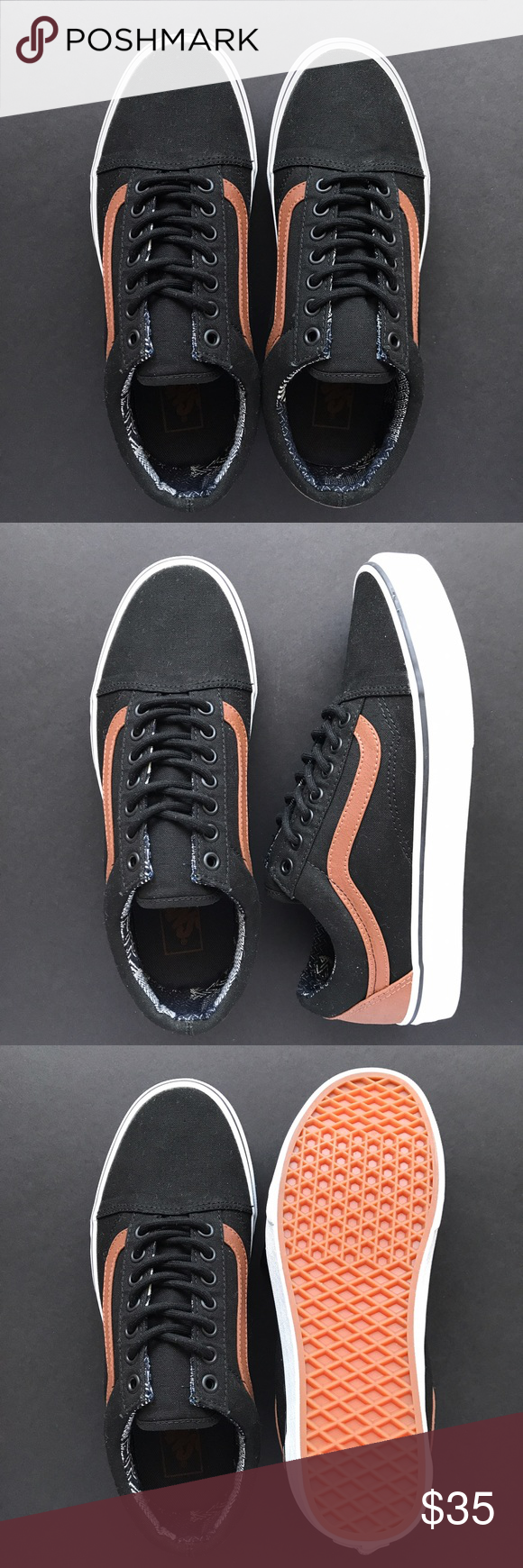 10739fb0e0f Vans Old Skool Black Canvas with Brown Leather Black canvas with brown  leather stripe Vans Old Skool. Patchwork denim linings. Box not included.