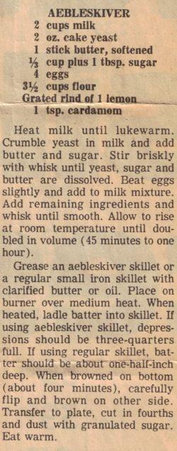 Photo of aebleskiver recipe with yeast | Aebleskiver Recipe Clipping | RecipeCurio.com