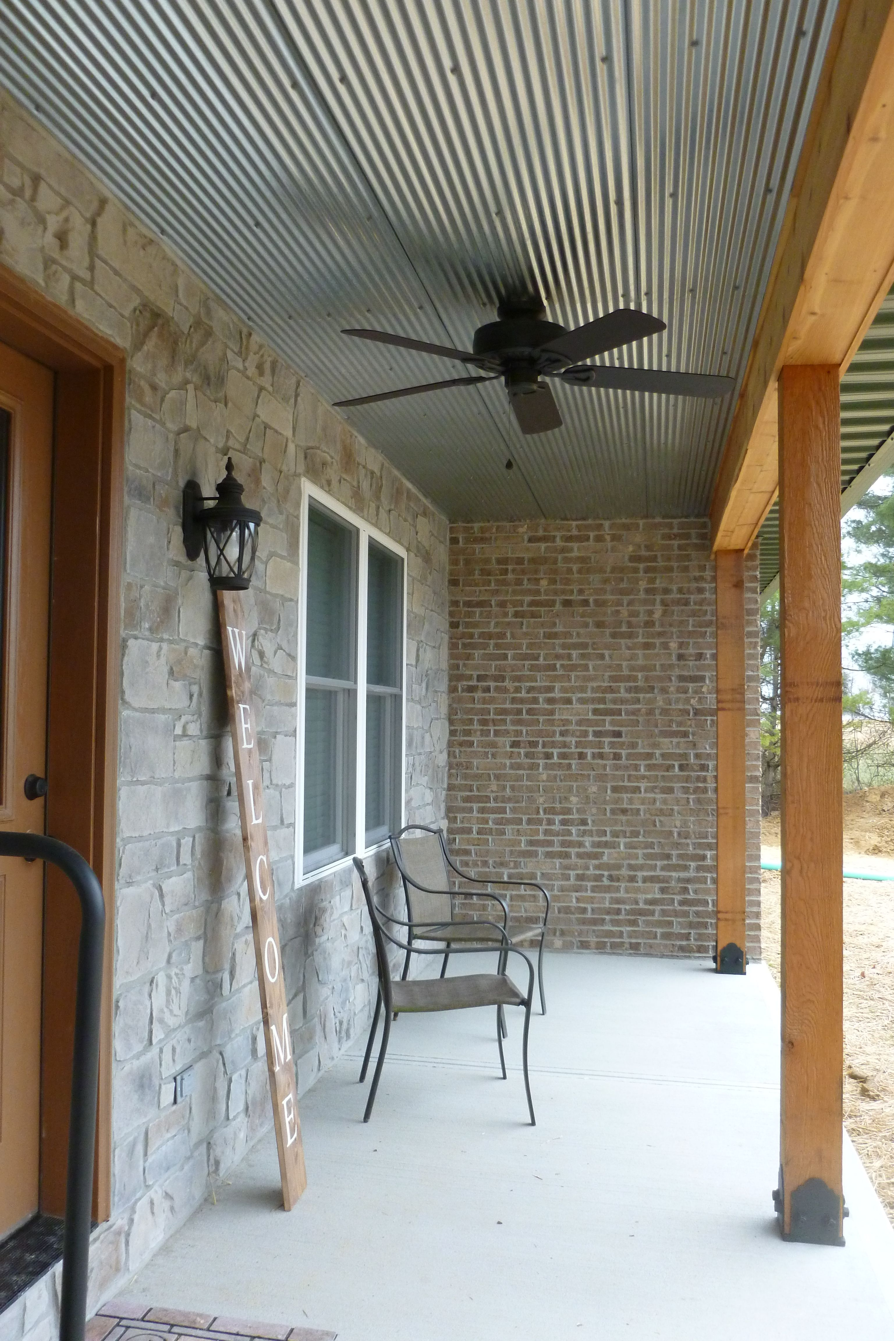 Front Porch Stone Front Wall With Corrugated Steel Ceiling 6x6
