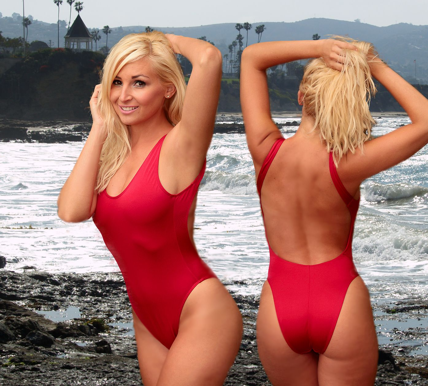 b996369fd9d The Baywatch style 2Scoops one piece swimsit by Brigitewear, be your own  Malibu Lifeguard