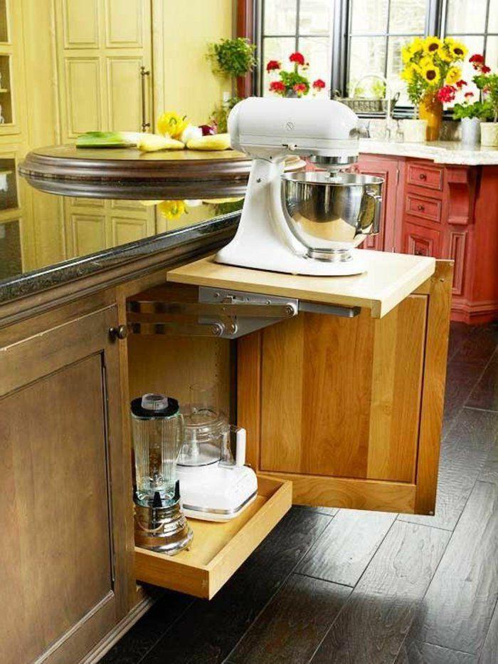 amenagement petite cuisine avec meubles gain de place en bois