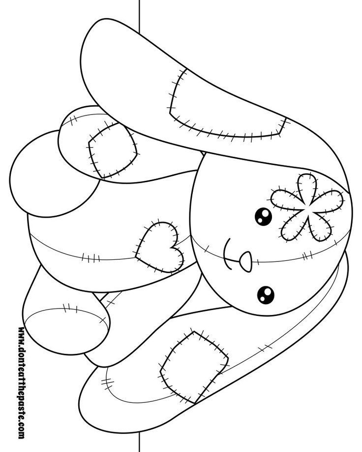 Patchwork Bunny To Color Also Available In Transparent Png Coloring Zentangle Bunny Coloring Pages Cute Coloring Pages Coloring Books