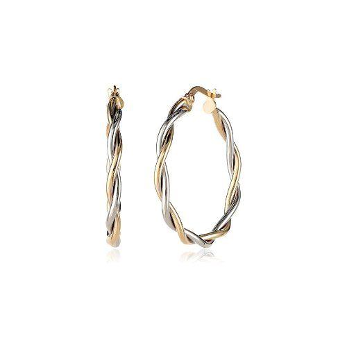 14k Gold Italian Two-Tone Twisted Hoop Earrings - $122.77
