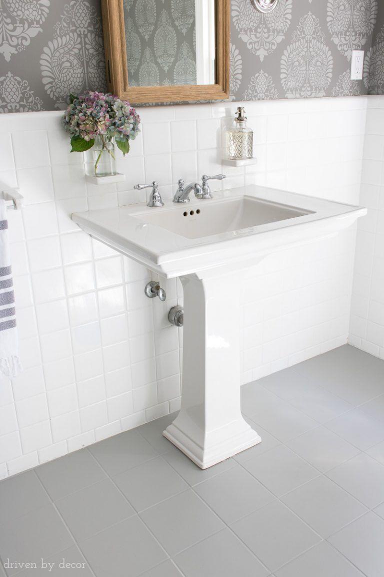 How I Painted Our Bathroom S Ceramic Tile Floors A Simple And Cheap Diy Driven By Decor Painting Bathroom Tiles Ceramic Tile Floor Bathroom Painted Bathroom Floors