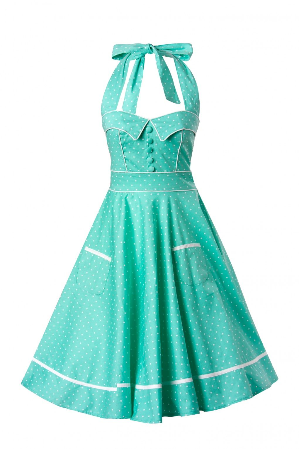 50s Retro halter Olivie Swing Dress in Mint Green and White dots ...