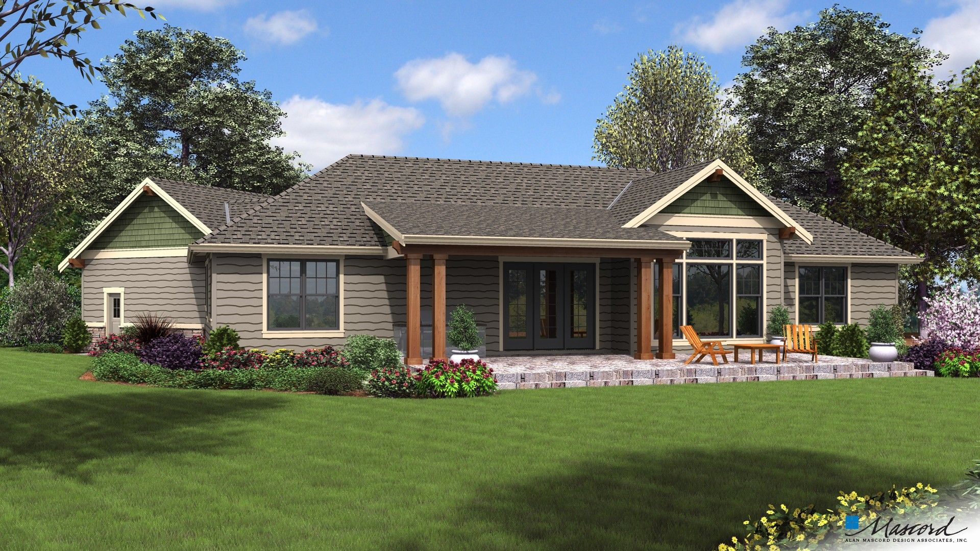 Alan Mascord Design Associates Plan 1177 Rear Rendering Br Artistic Renderings May De Ranch Style House Plans Craftsman Style House Plans Ranch Style Homes