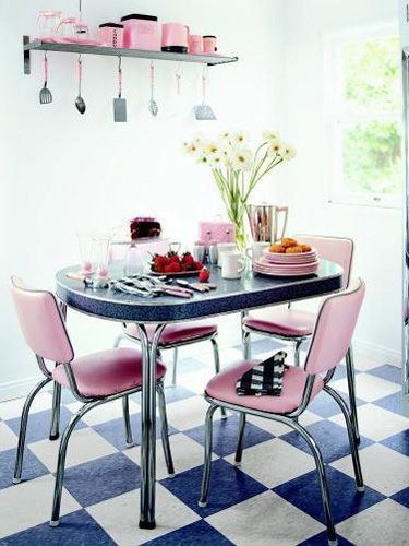 Blue And Pink Moods Retro Dining Rooms Vintage Kitchen Decor Decor