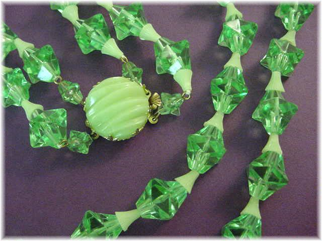West Germany - 1950s Lime Green Jello Star Celestial Plastic 2 Strand Necklace - Pennsylvania Estate Antique - FREE SHIPPING
