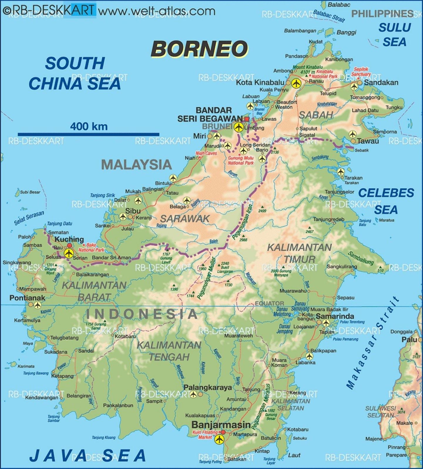 Physical map of borneo httpsenpediawikiborneo map of borneo indonesia malaysia brunei map in the atlas of the world world atlas gumiabroncs Images