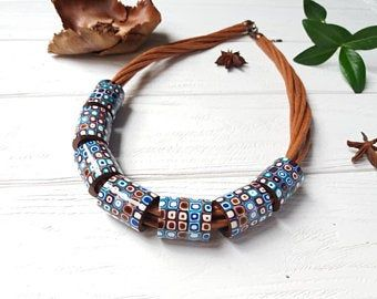 Statement Ethnic multicolor bold beaded chunky necklace Large bright Boho polymer clay jewelry African fashion Christmas women gift #afrikanischemode