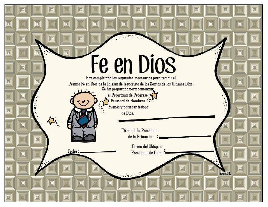 Certificado Fe en Dios para Niños | Fé en Dios | Pinterest | Lds ...