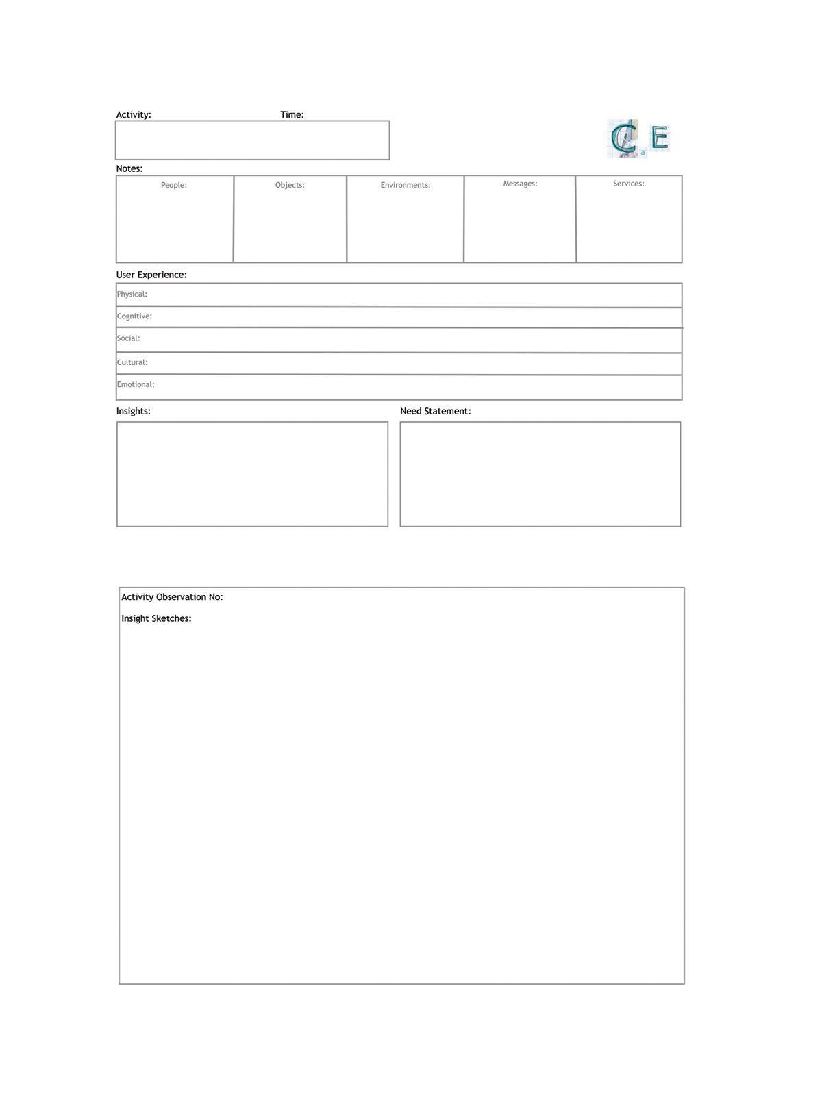 Design Research Observation Worksheet Claireaengland