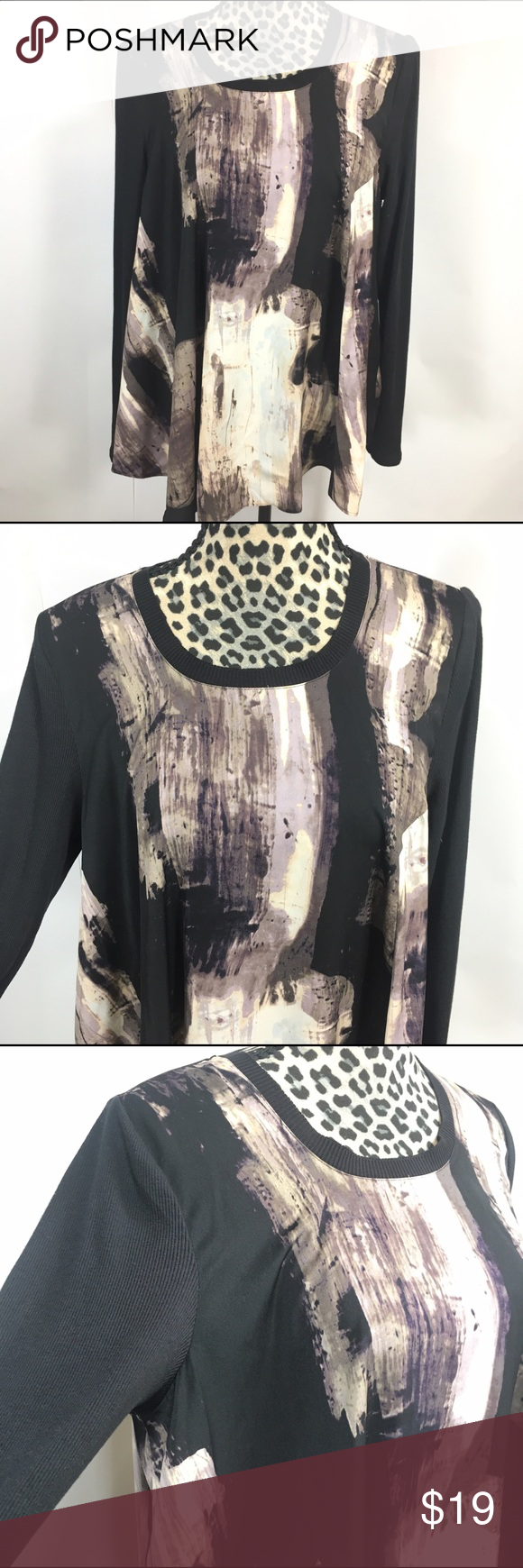 """Simply Vera by Vera Wang Top Simply Vera by Vera Wang Top; NWT;  Asymmetrical 31"""" Length Cut on the Right Front , Straight 24"""" Length Cut in the Back;  25"""" Sleeve Length; 40"""" Bust;  Body: 100% Polyester, Sleeve: 50% Cotton, 40% Modal Simply Vera Vera Wang Tops"""