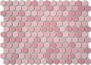 Lyric 1 X 1 Glazed Porcelain Mosaic Hex Tile In Love Pink Hex Tile Glass Tile Design Mosaic Tile Supplies
