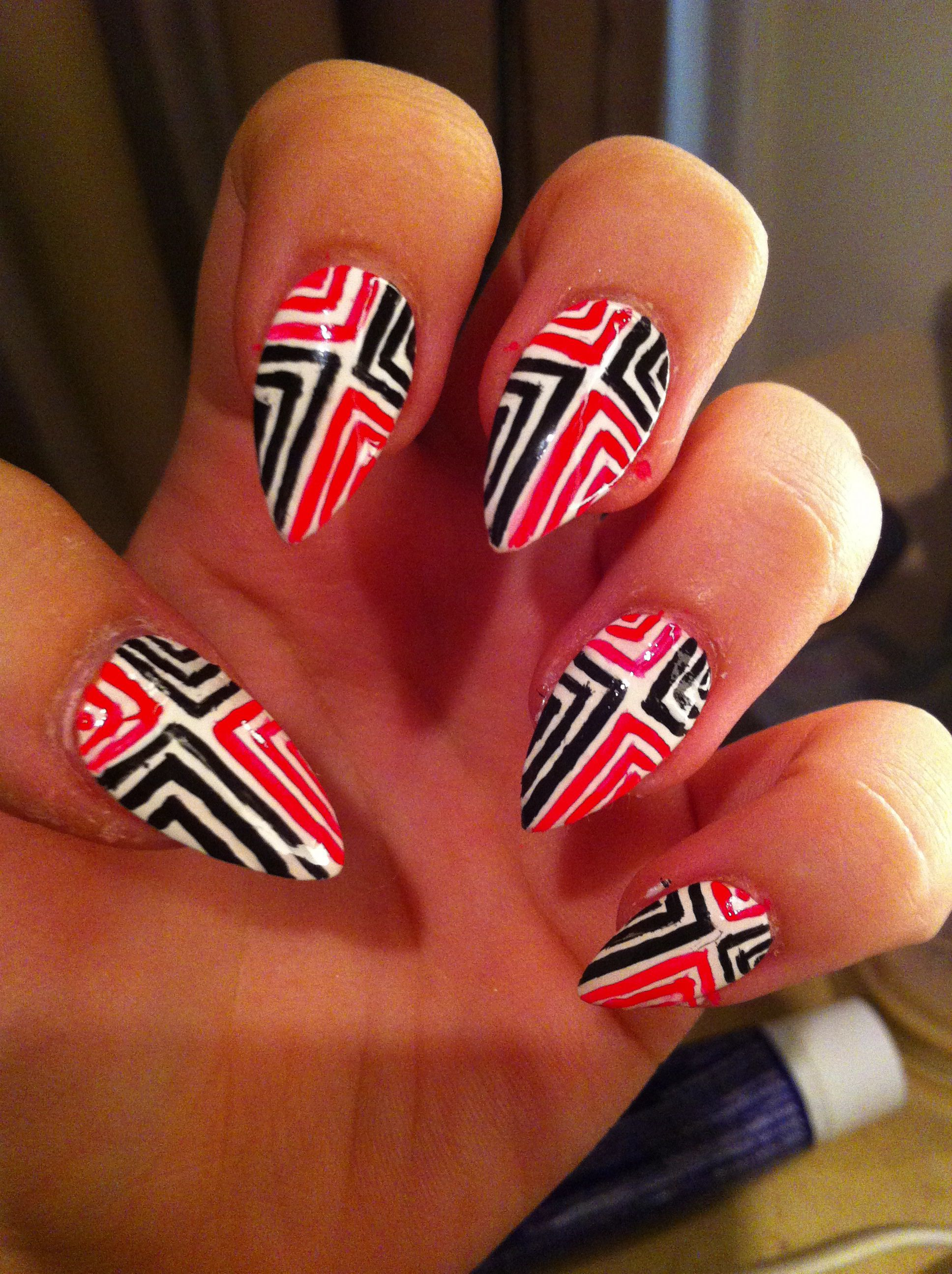 Funky Tribal Ish Nail Design With A Sharp Pointed Tip Nail Swagg
