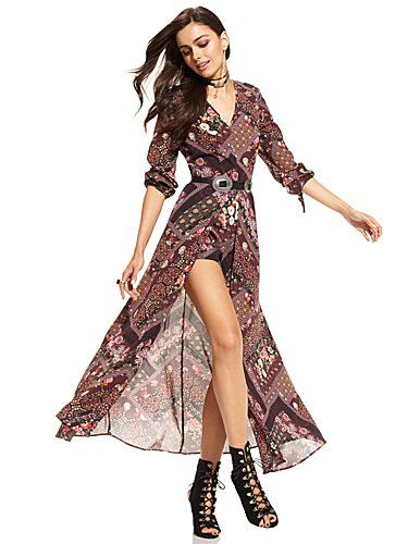 abd42769ddea Shop Maxi Dress with Shorts - Print . Find your perfect size online at the  best price at New York   Company.