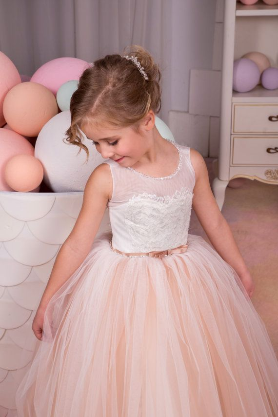 Ivory and Beige Flower Girl Dress - Birthday Wedding Party Holiday ...