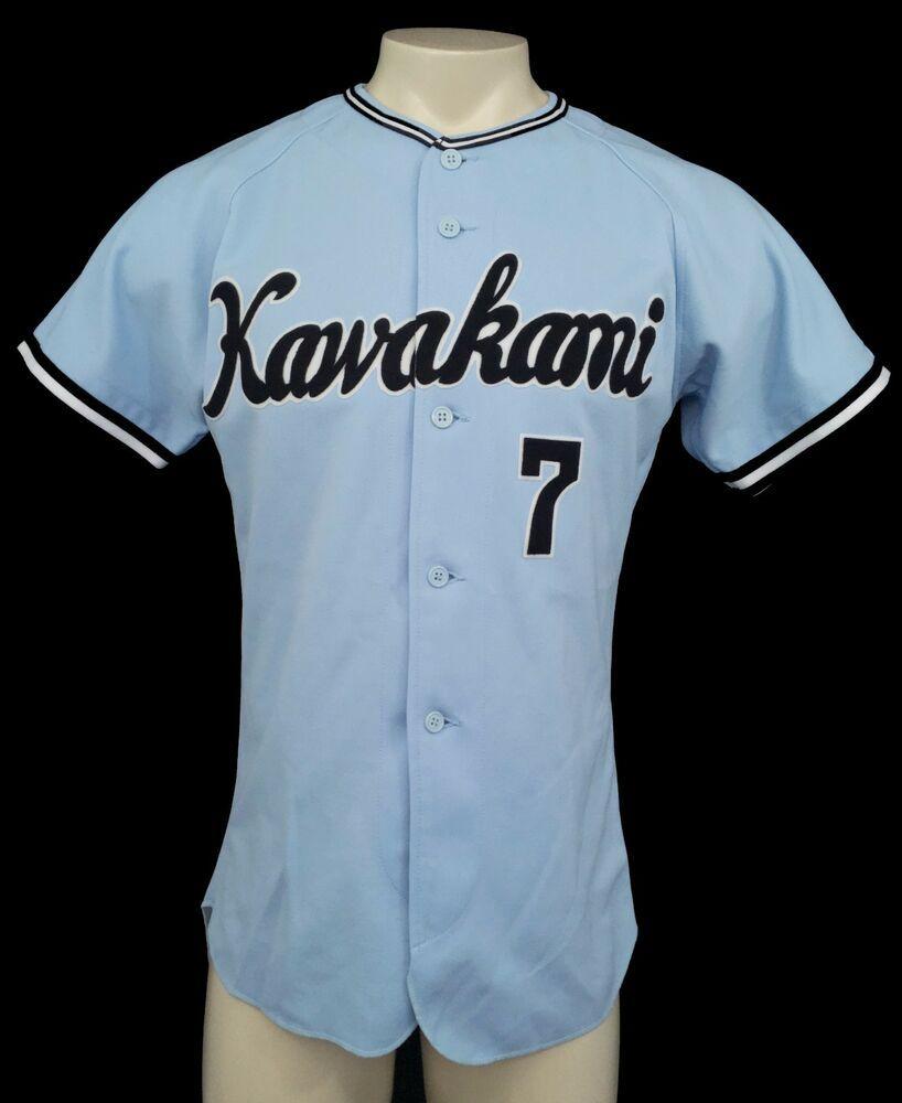 Omega Sports Wear Mens Vtg Kawakami Japanese Blue 7 Baseball Jersey Size O Omegasportswear Kawakami Baseball Jersey Men Retro Men Mens Tops