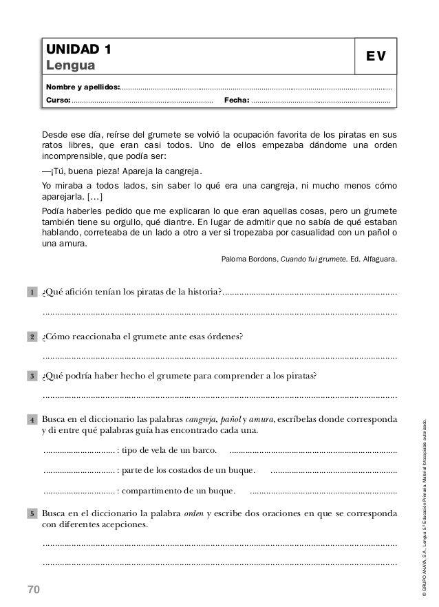 Lengua quinto de primaria anaya-evaluaciones | LENGUAJE & ESCRITURA ...