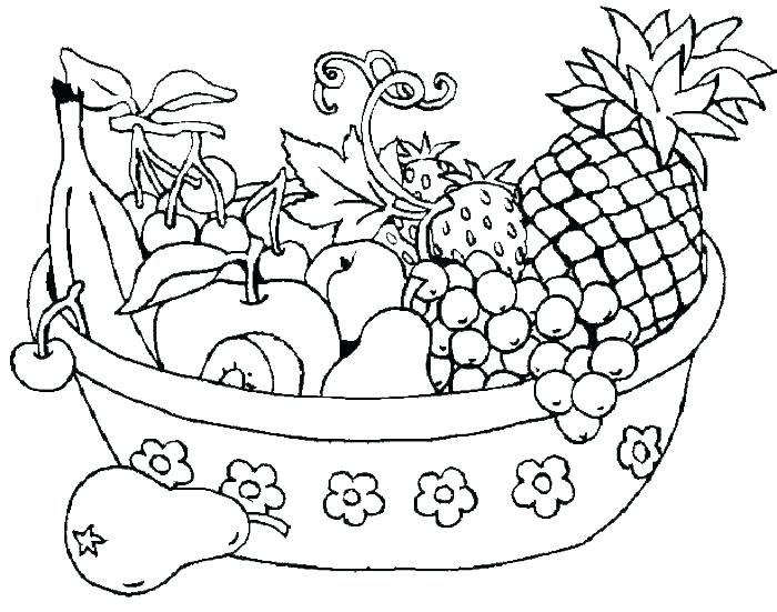 Printable fruits and vegetables coloring pages for