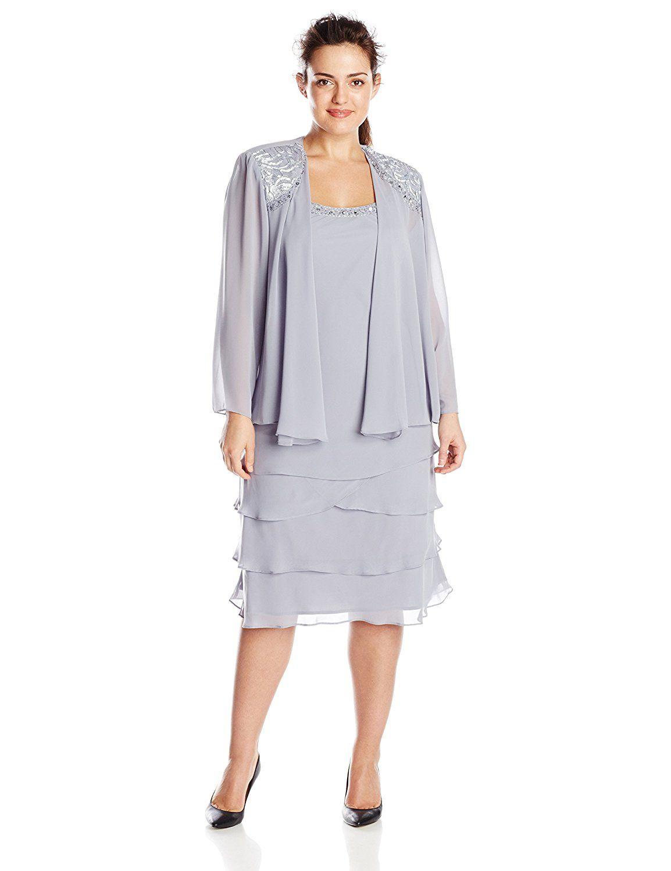Sl Fashions Womens Plus Size Chiffon Rhinestone Jacket Dress