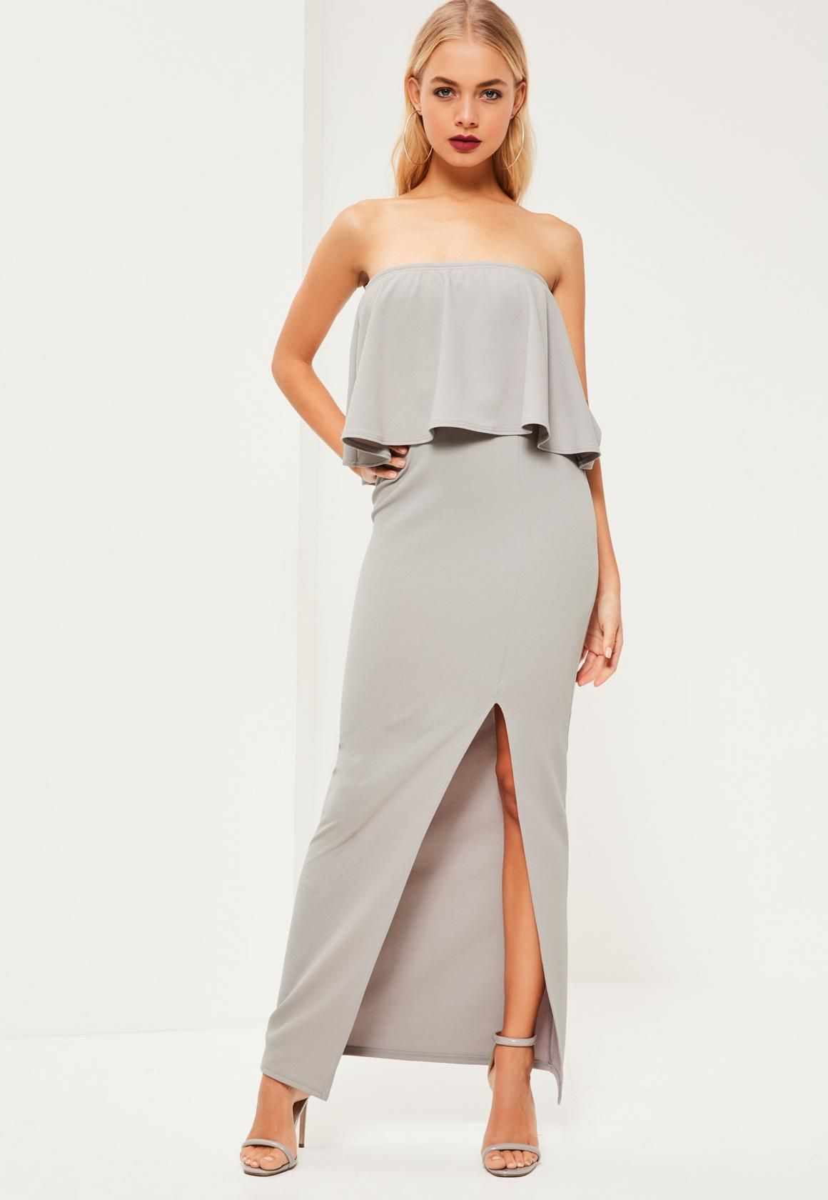 Missguided - Grey Crepe Frill Side Split Maxi Dress