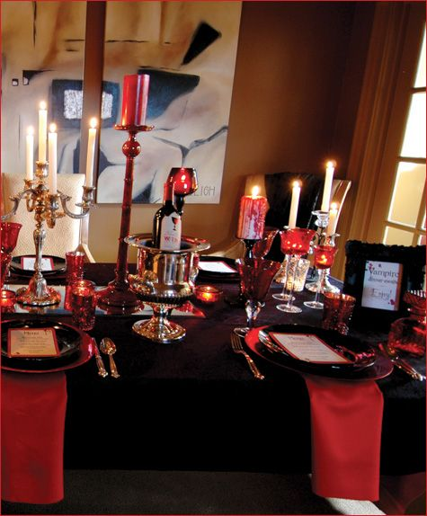 Vampire Dinner Ideas : vampire, dinner, ideas, VAMPIRE-Style, Dinner, Party, Hostess, Mostess®, Halloween, Dinner,, Vampire, Party,, Table, Decorations
