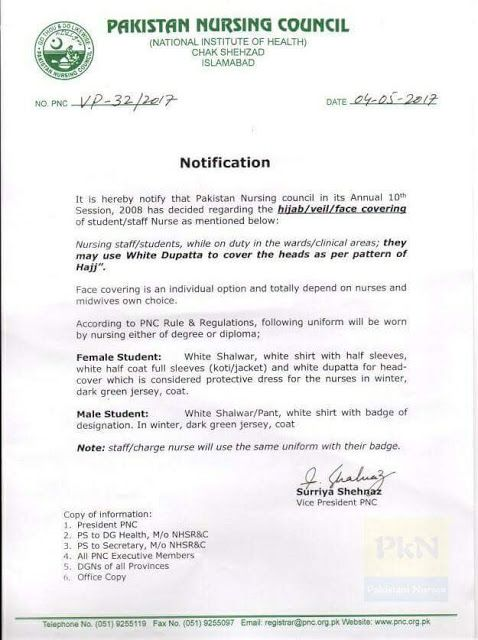 Pnc Notification About Dress Code  Pakistan Nursing Council