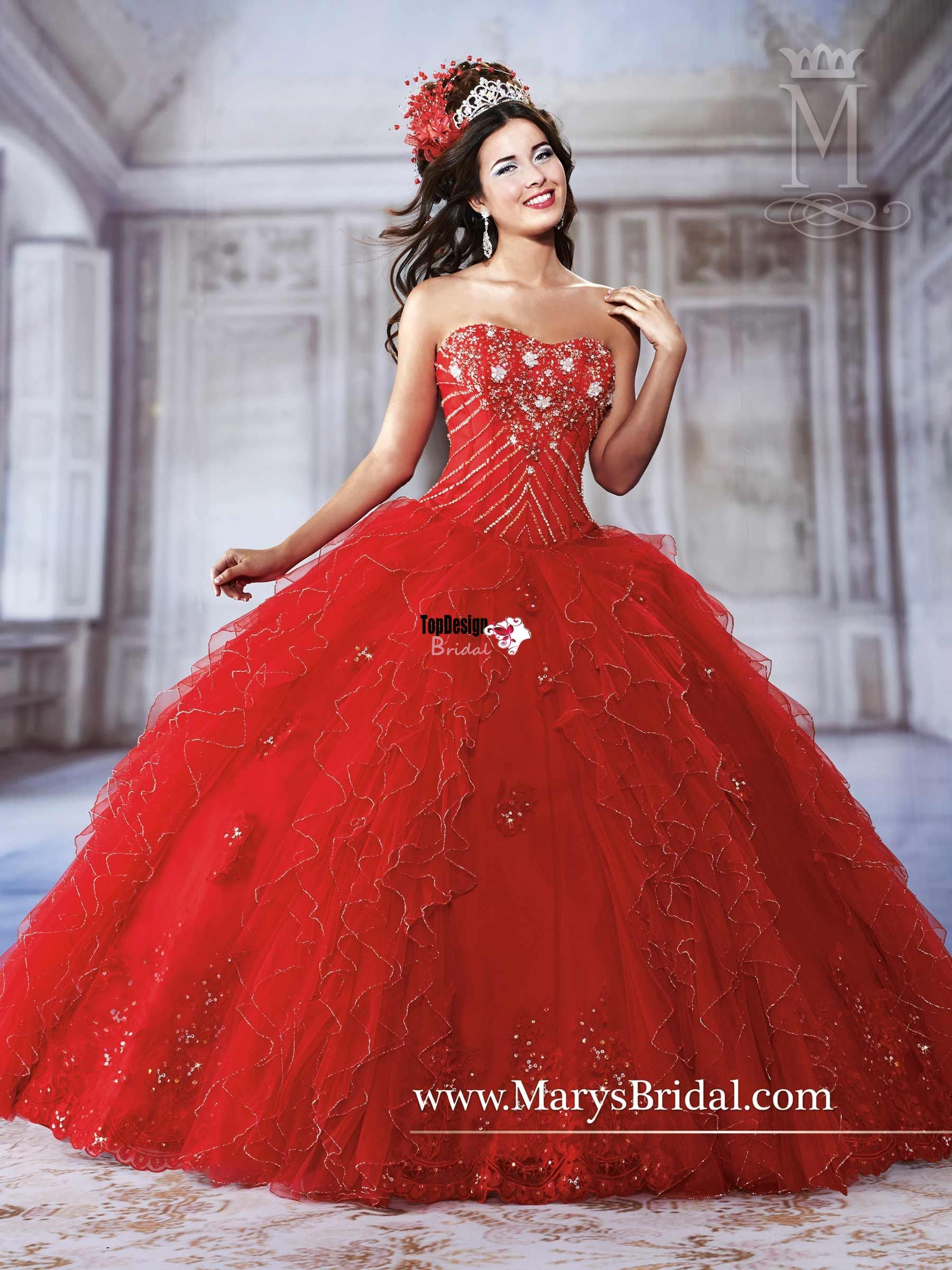 Wholesale new sweet 15 dress red satin organza fully beaded applique ...