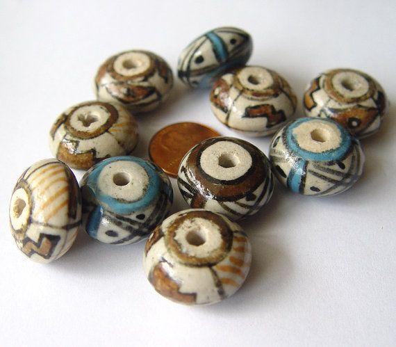 ceramic beads, geometric pattern, macrame beads, ceramic buttons, southwestern, geometric jewelry, vintage beads, 24mm, set of 10