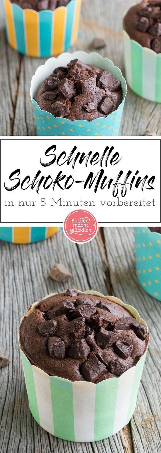 Schnelle Schoko-Muffins | Backen macht glücklich #rührteiggrundrezept