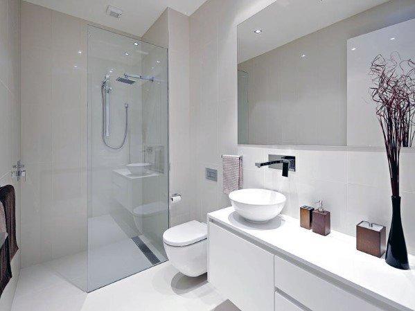 Top 60 Best White Bathroom Ideas Home Interior Designs Modern Small Bathrooms Bathroom Design Small Modern Modern Bathroom