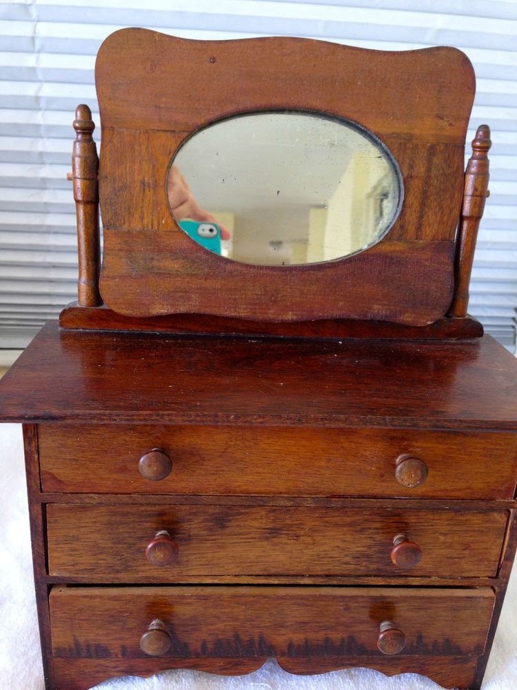 Antique Sman Sample Dresser Mirror Childs Doll Toy Miniature Vintage 1900