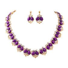 Unique Jewelry - Jewelry Sets Necklace Earrings Purple Resin Alloy Rhinestone Gold Womens Wedding