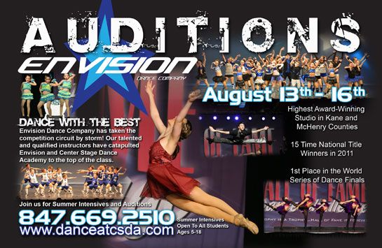 audition flyer postcard for center stage dance academy stellar