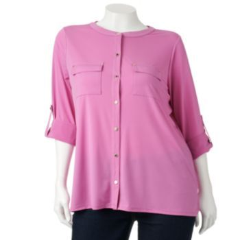 Button Down Semi Dressy Pink Blouse Is Perfect To Wear With Black