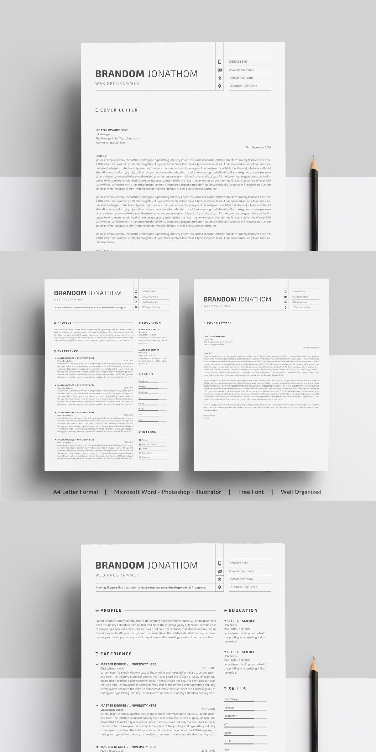 Resume in 2020 Clean resume template, Resume, Cover