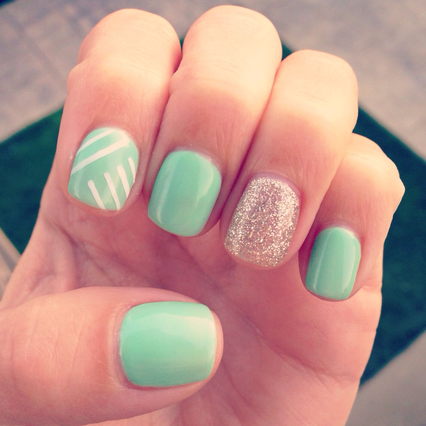 I\'m obsessed with my mint gel manicure!! | Nails Nails Nails ...