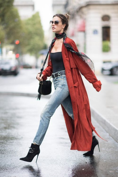 94b3ce92 Dress up a jeans and top outfit with a long robe jacket and silk scarf a la  Alessandra Ambrosio