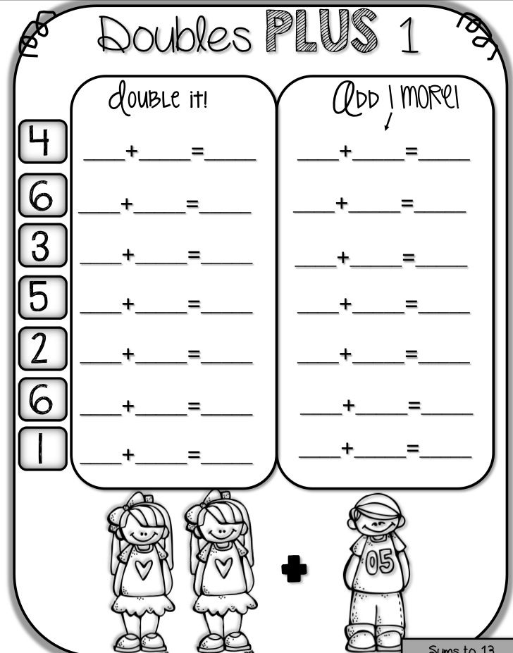 Adding To 18 Math Doubles Math Fact Worksheets Math Facts Doubles worksheets first grade