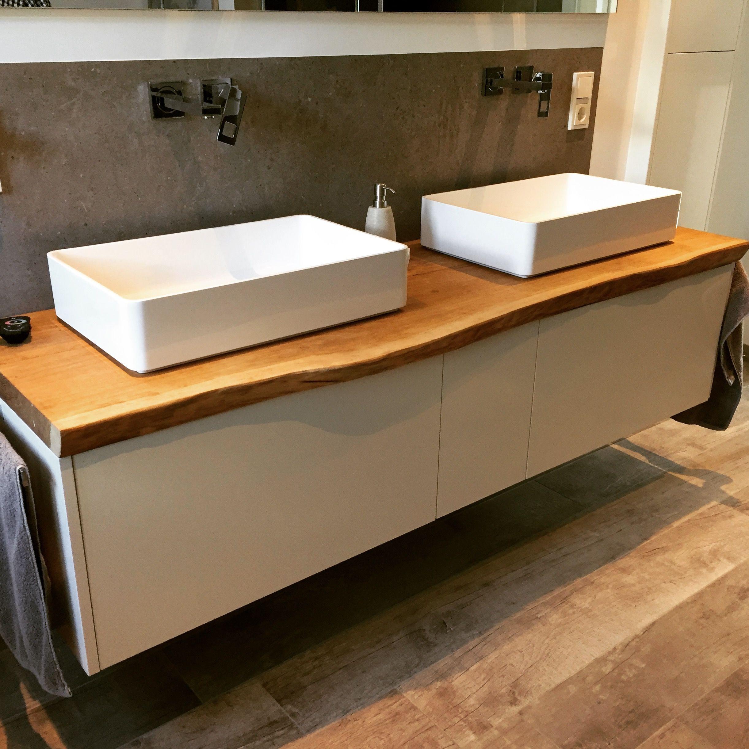Waschtisch Mit Eiche Echtholz Waschtischplatte Und Mineralguss Waschbecken Minimal Gefertigt Von Www One Bath De Waschtischplatte Waschtisch Waschbecken