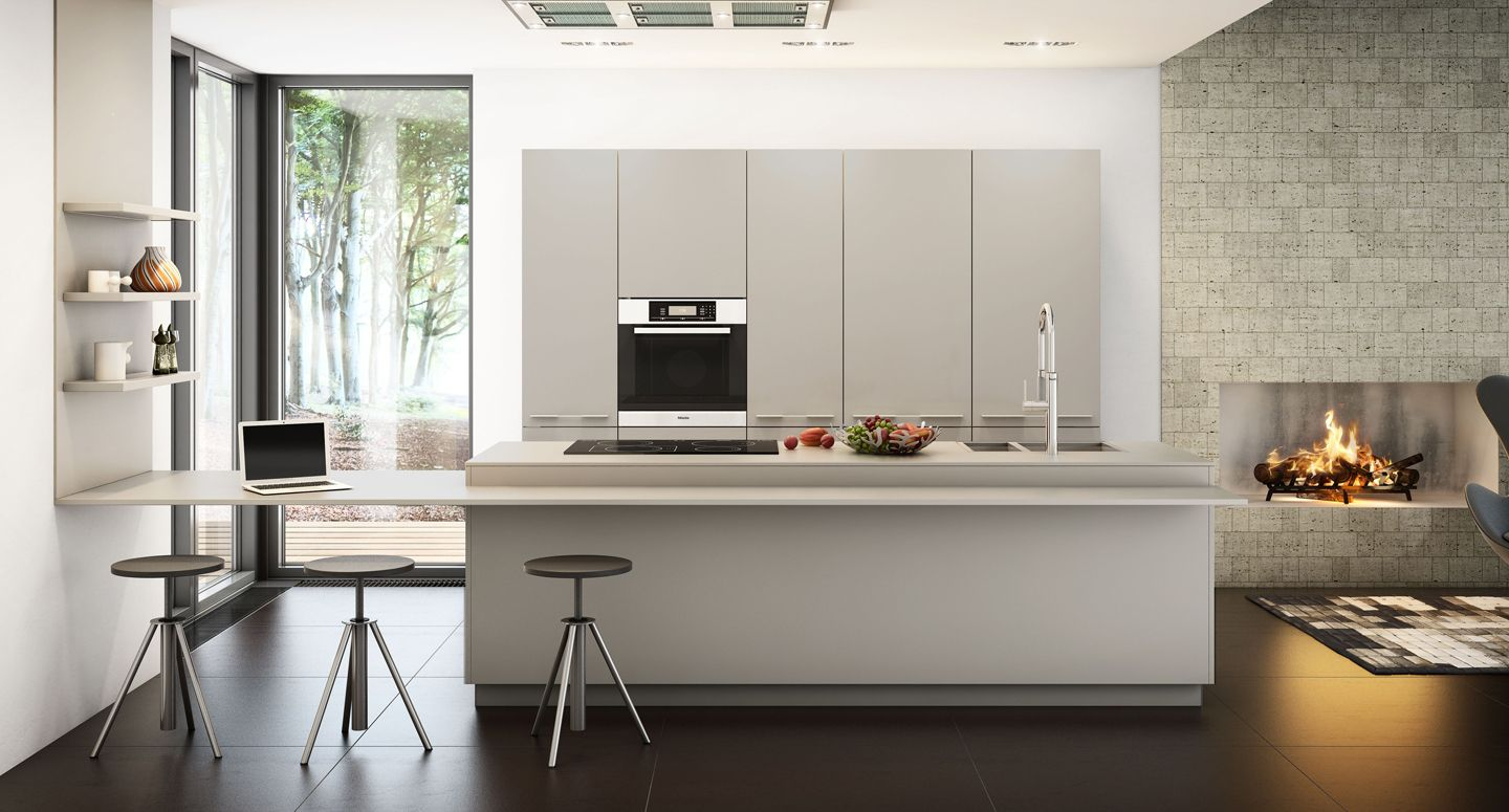 Grey Kitchen With Dark Floor And Light Work Top  Kitchens Awesome Kitchen Designs Contemporary Inspiration