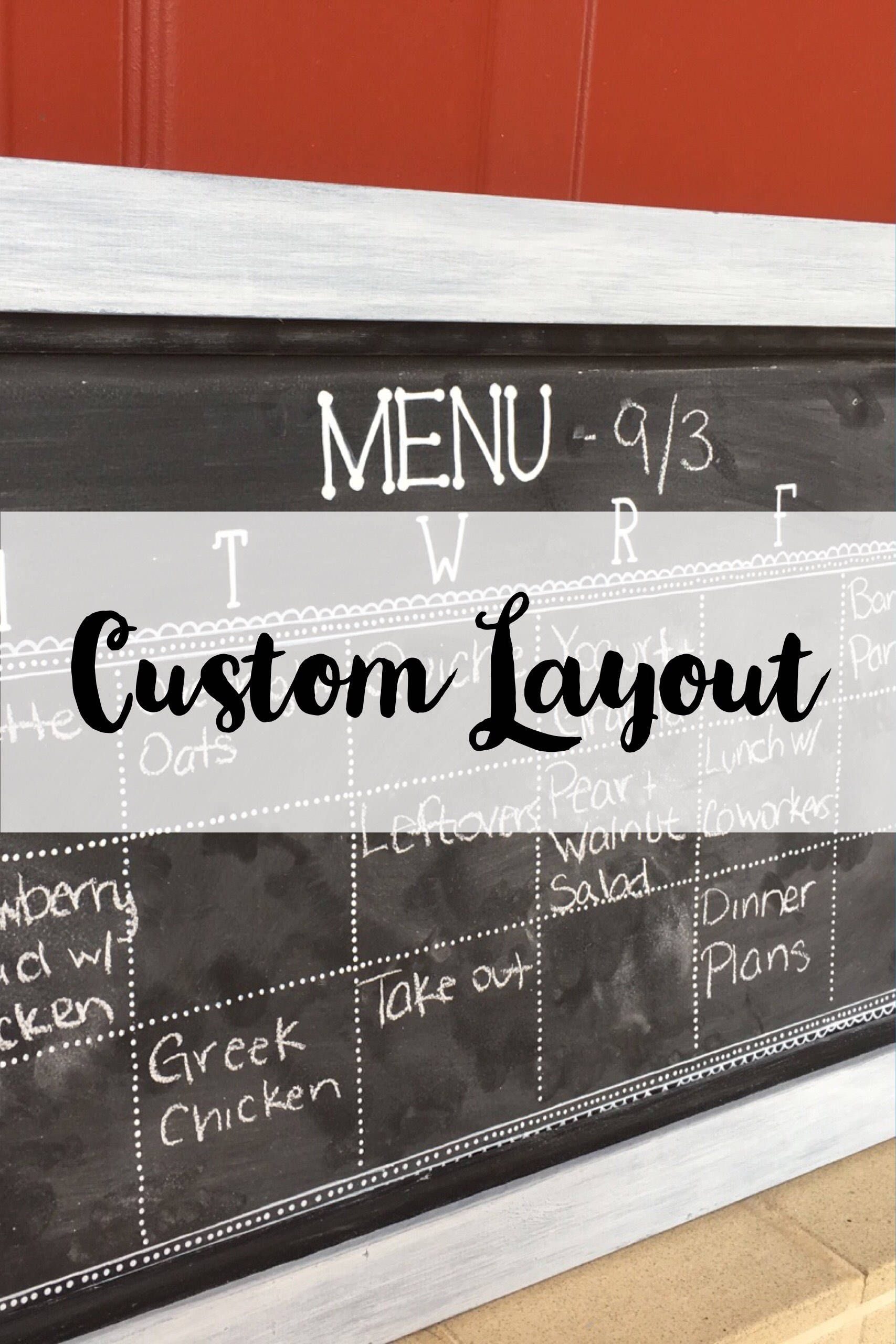 Custom Layout Magnetic Chalkboard Calendar  Personalized Small Chalkboard