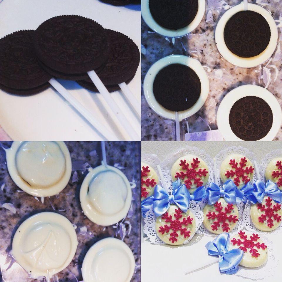 Pirulito com Biscoito e chocolate branco